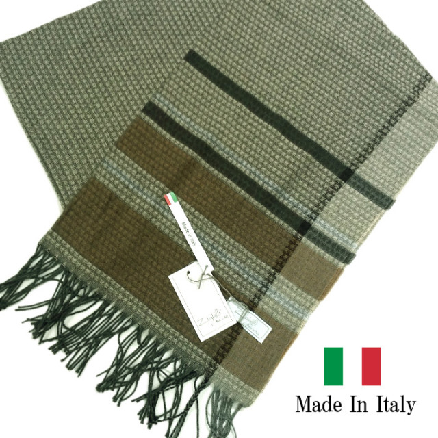 SALE イタリア製  秋冬 マフラー ストール ドット ブラウン 281904-105