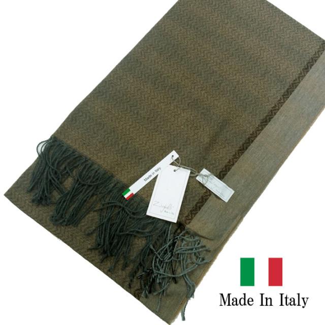 SALE イタリア製  秋冬 マフラー ストール ヘリンボーン ブラウン 281904-107