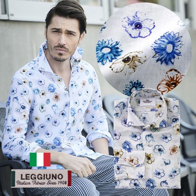 日本製イタリア生地LEGGIUNO社製 メンズシャツ フラワー柄 セミワイド 花柄 リネン コットン 300661 GALLIPOLI camiceria ガリポリカミチェリア