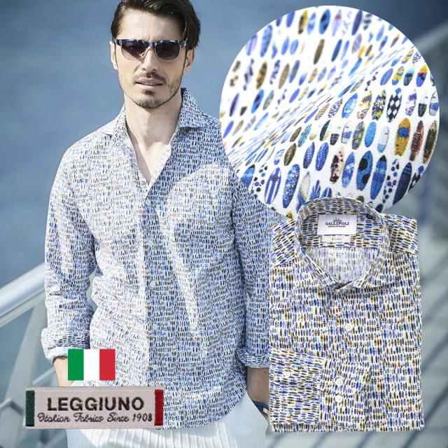 SALE 日本製イタリア生地LEGGIUNO社製 メンズシャツ サーフボード セミワイド コットン 300664 GALLIPOLI camiceria ガリポリカミチェリア
