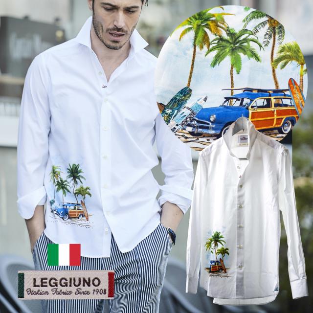 日本製イタリア生地LEGGIUNO社製 メンズシャツ 白シャツ サーフボード セミワイド コットン  300665 GALLIPOLI camiceria ガリポリカミチェリア