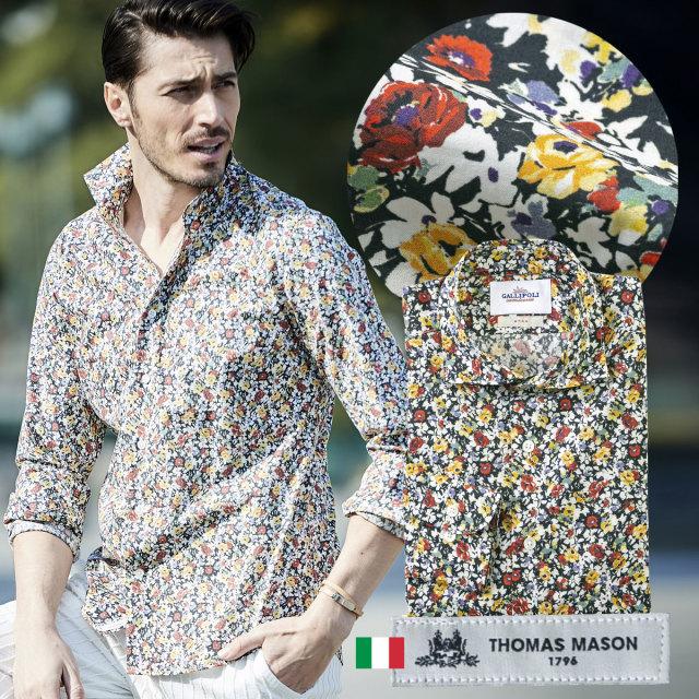 イタリアシャツ 日本製 イタリア生地 メンズシャツ フラワープリント セミワイド THOMAS MASON 300668-011 GALLIPOLI camiceria ガリポリカミチェリア