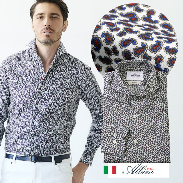 イタリアシャツ 日本製 イタリア生地 メンズシャツ ペイズリー セミワイド ALBINI 300669 GALLIPOLI camiceria ガリポリカミチェリア