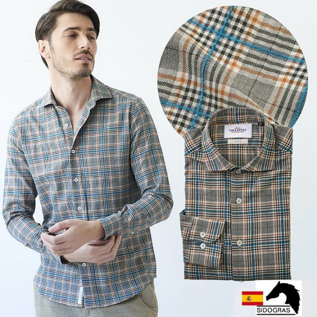 SALE 日本製 スペイン生地 メンズシャツ タータンチェック モール セミワイド 300671 300671 GALLIPOLI camiceria(ガリポリカミチェリア)