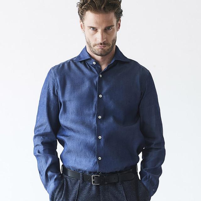 日本製 デニム テンセル シャツ ホワイトレーベル ドレスシャツ 300672 GALLIPOLI camiceria(ガリポリカミチェリア)