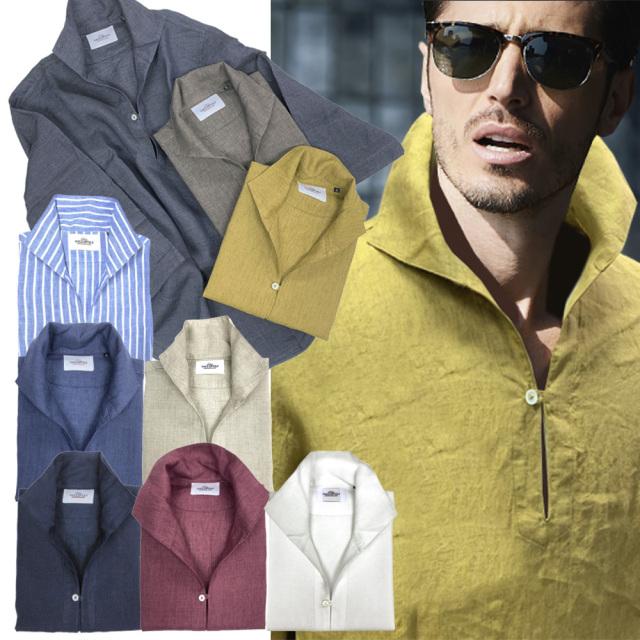 日本製 ディレイブ染め リネンカプリシャツ 七分袖 天然素材 300675 GALLIPOLI camiceria ガリポリカミチェリア
