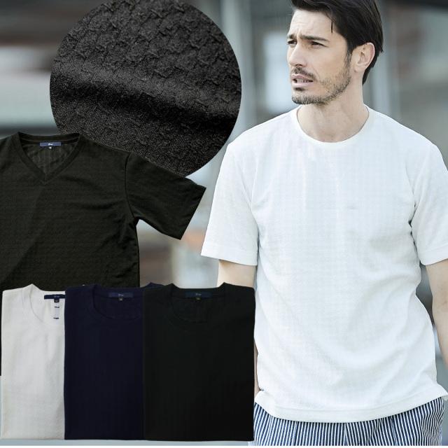SALE Tシャツ ストレッチジャガードショートスリーブカットソー ホワイト ブラック ネイビー 301510 G-stage ジーステージ 春夏入荷
