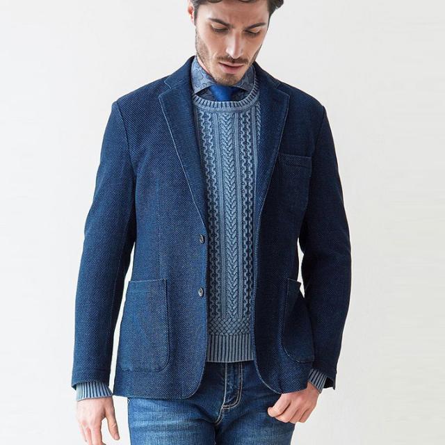 [SALE][ネット通販限定品]スペイン製生地 インディゴジャガードジャケット  ネイビー 370203 G-stage(ジーステージ)[粋なスタイルインディゴコーデ]