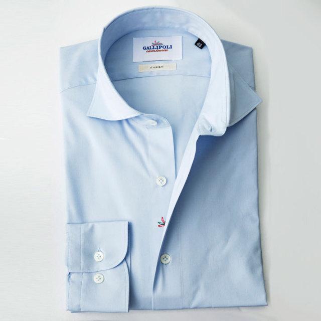 イタリア製 無地ブルーカッタウェイ長袖 ストレッチシャツ カジュアルシャツ ビジネスシャツ 長袖カジュアルシャツ    自信が持てる仕事着  イタリア製シャツ 370650-008 GALLIPOLI camiceria(ガリポリカミチェリア)