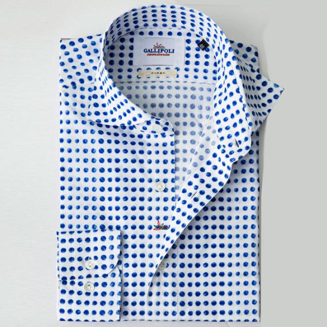 イタリア製 ドット柄プリントコットンカッタウェイ長袖 カジュアルシャツ ブルーシャツ ワイドカラー  イタリア製シャツ 370651-221 GALLIPOLI camiceria(ガリポリカミチェリア)