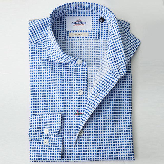 イタリア製 スクエア柄プリントコットンカッタウェイ長袖 カジュアルシャツ ブルーシャツ ワイドカラー 370651-222  イタリア製シャツ GALLIPOLI camiceria(ガリポリカミチェリア)