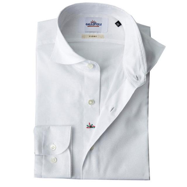 イタリア製 無地コットンカッタウェイ長袖 オックスフォードシャツ 白シャツ カジュアルシャツ ビジネスシャツ ホワイトシャツ 370651-226  自信が持てる仕事着 イタリア製シャツ  GALLIPOLI camiceria(ガリポリカミチェリア)