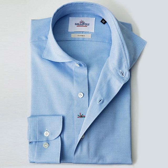 イタリア製 無地コットンカッタウェイ長袖 オックスフォードシャツ  カジュアルシャツ ビジネスシャツ ブルーシャツ 370651-227 自信が持てる仕事着 GALLIPOLI camiceria(ガリポリカミチェリア)