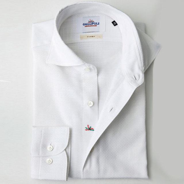 イタリア製 ジャガード織りコットンカッタウェ長袖カジュアルシャツ  カジュアルシャツ ビジネスシャツ ホワイトシャツ ワイドカラー  370651-229 自信が持てる仕事着 GALLIPOLI  イタリア製シャツ camiceria(ガリポリカミチェリア)
