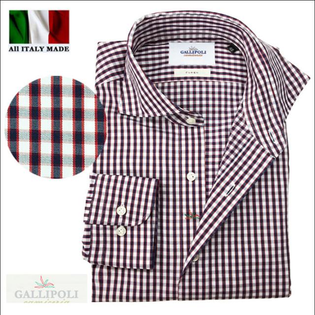 SALE イタリア製 メンズシャツ チェック柄 コットン カッタウェイ 長袖 カジュアルシャツ イタリアシャツ  370653-057 GALLIPOLI camiceria(ガリポリカミチェリア)