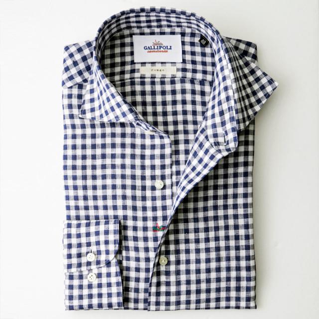 イタリア製 ブロックチェック柄 長袖リネンカジュアルシャツ セミワイド カッタウエイ  イタリア製シャツ 370654-709  GALLIPOLI camiceria(ガリポリカミチェリア)