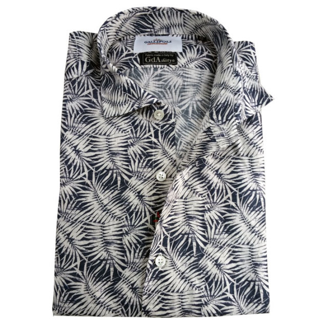SALE 日本製 イタリア GDA社製生地 リーフプリント 長袖リネンカジュアルシャツ リネン100% 麻シャツ セミワイド ネイビー 370657-115 GALLIPOLI camiceria(ガリポリカミチェリア)