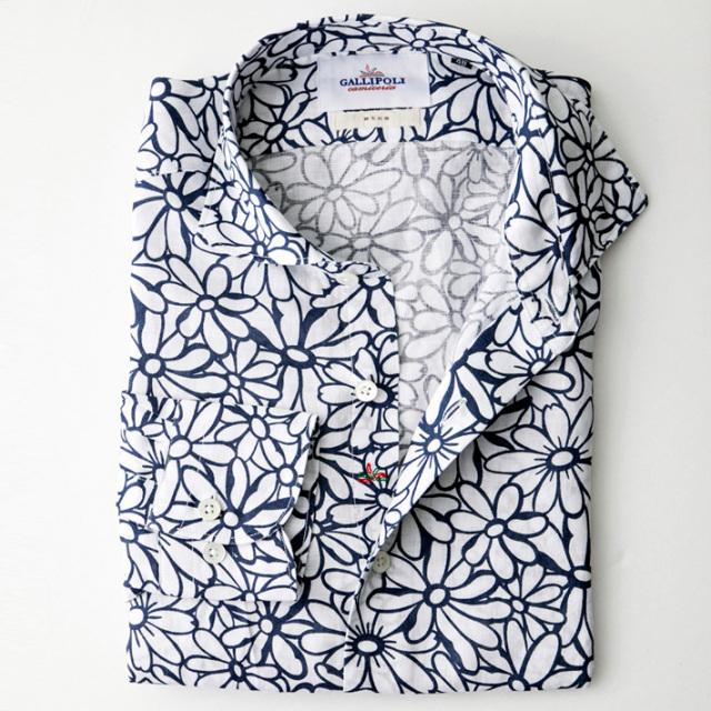 日本製 イタリア生地 フラワー柄 長袖リネンカジュアルシャツ 花柄リネンシャツ セミワイド ホワイトXネイビー 370659-111 GALLIPOLI camiceria(ガリポリカミチェリア)