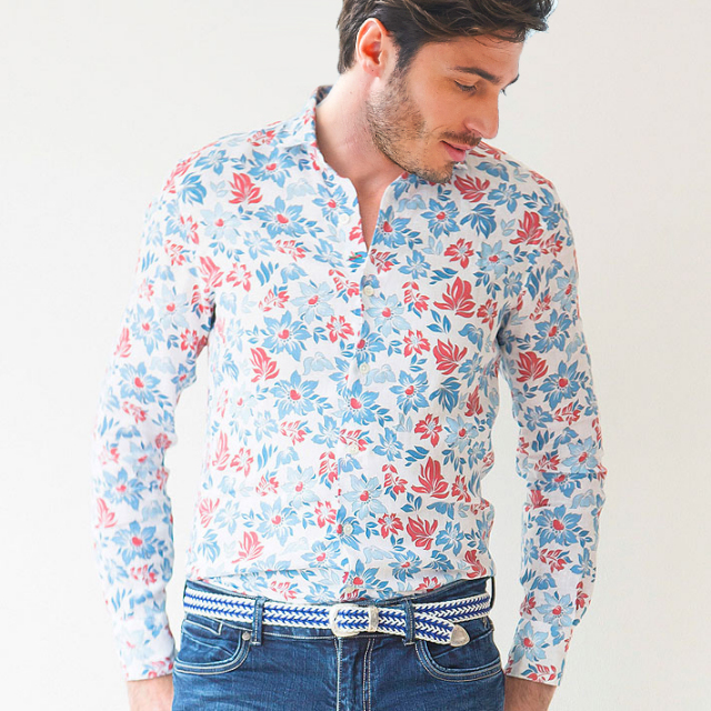 日本製 イタリア製生地 花柄リネンカッタウェ長袖カジュアルシャツ カジュアルシャツ 麻シャツ ワイドカラー 370659-112 GALLIPOLI camiceria(ガリポリカミチェリア)