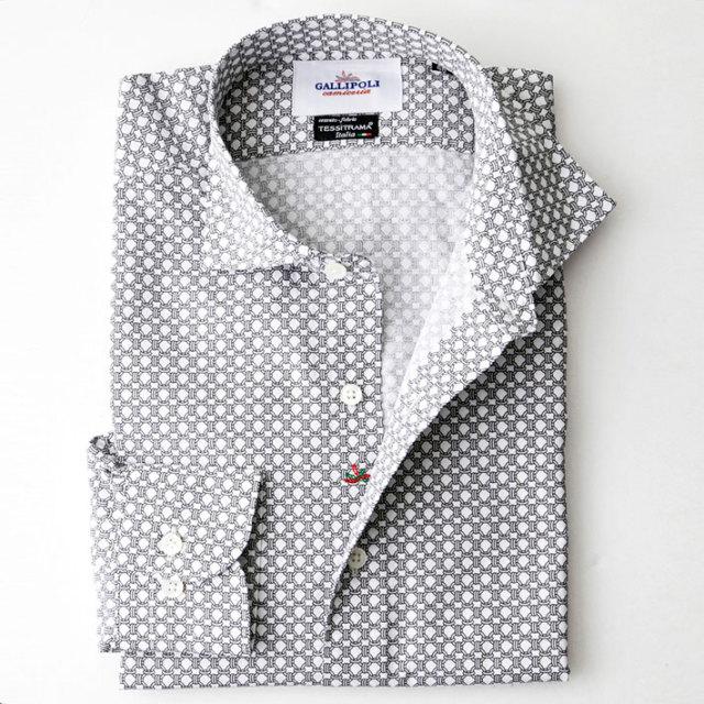 日本縫製イタリア製生地 小紋柄長袖コットンカジュアルシャツ セミワイド グレー系 370661-106 GALLIPOLI camiceria(ガリポリカミチェリア)