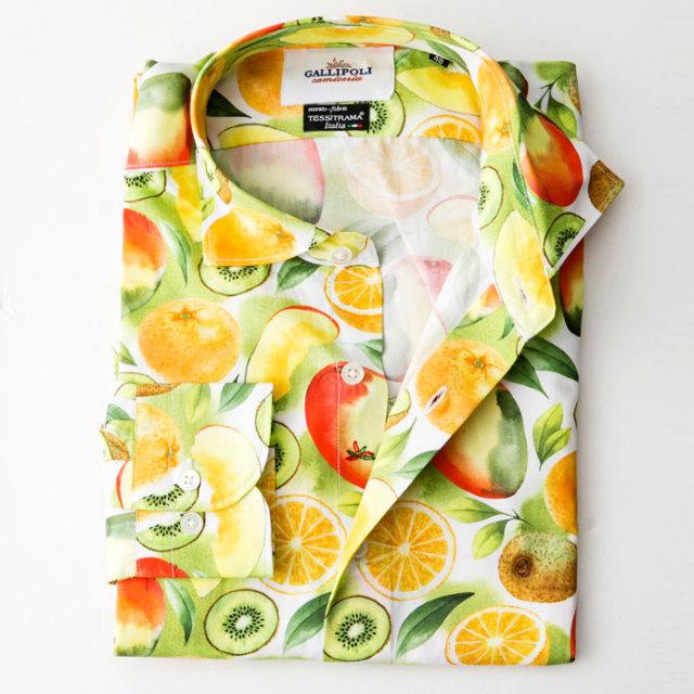 日本縫製イタリア製生地 フルーツ柄長袖コットンカジュアルシャツ セミワイド ブルー 370661-107 GALLIPOLI camiceria(ガリポリカミチェリア)