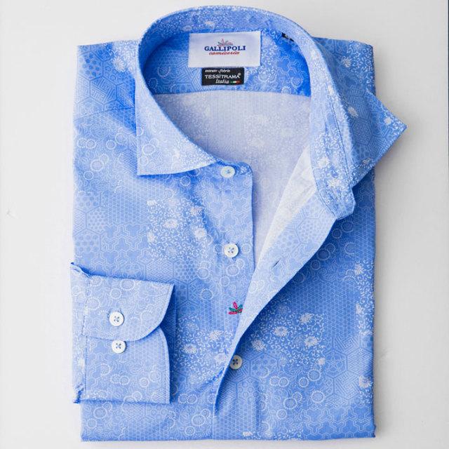 日本縫製イタリア製生地 小紋柄長袖コットンカジュアルシャツ セミワイド ブルー 370661-108 GALLIPOLI camiceria(ガリポリカミチェリア)