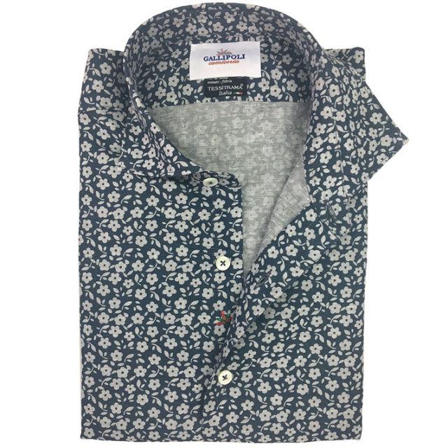 SALE 日本縫製イタリア製生地 リネン2トーンフラワープリントシャツ セミワイド ブルーグレー 370662-109 GALLIPOLI camiceria(ガリポリカミチェリア)