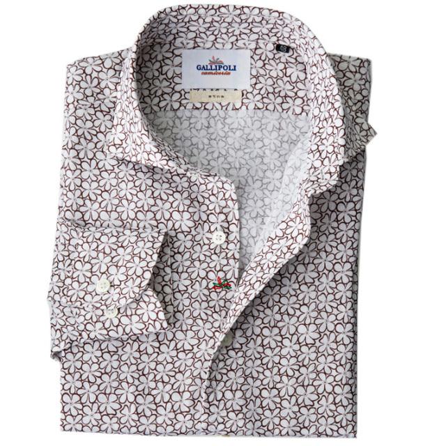 日本製 フラワー柄 長袖リネンカジュアルシャツ 花柄リネンシャツ セミワイド ホワイトXブラウン 370673-007 GALLIPOLI camiceria(ガリポリカミチェリア)