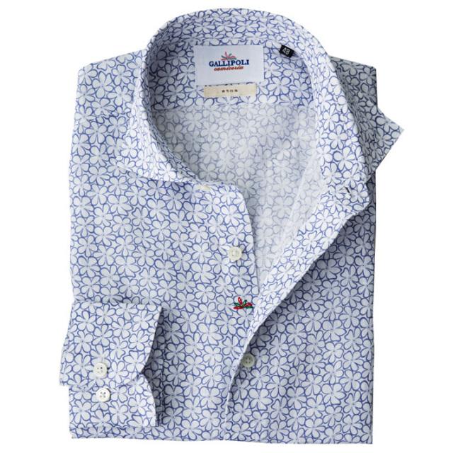 日本製 フラワー柄 長袖リネンカジュアルシャツ 花柄リネンシャツ セミワイド ホワイトXブルー 370673-008 GALLIPOLI camiceria(ガリポリカミチェリア)