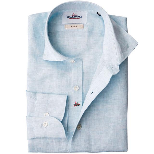 日本製 先染め無地長袖カジュアルリネンシャツ セミワイド ブルー 麻シャツ 370674-008 GALLIPOLI camiceria(ガリポリカミチェリア)