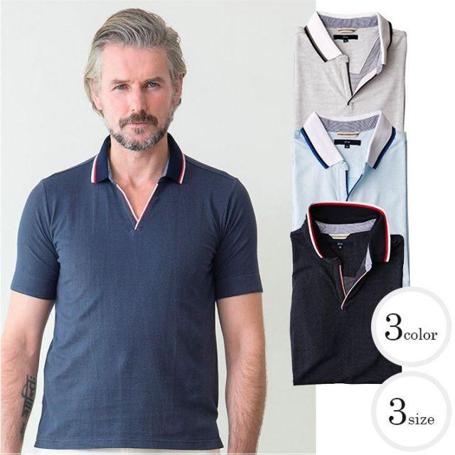 SALE 清涼感 刺し子風ジャガードスキッパーコットン ポロシャツ メンズスタイル ホワイト ネイビー サックス 371500 G-stage(ジーステージ) ポロシャツ