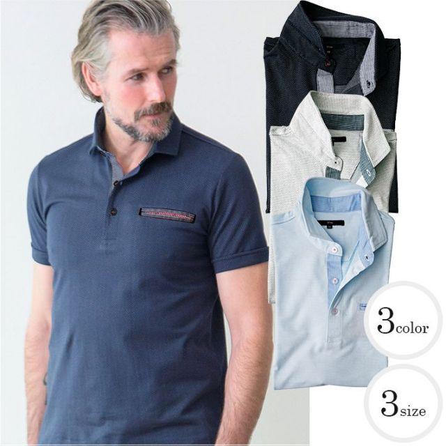 SALE 清涼感 刺し子風ジャガードコットンポロシャツ メンズスタイル ポロシャツ ホワイト ネイビー サックス 371501 G-stage(ジーステージ) ポロシャツ