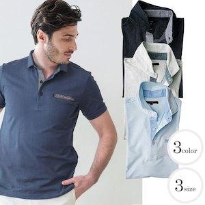 清涼感 刺し子風ジャガードコットンポロシャツ メンズスタイル ポロシャツ ホワイト ネイビー サックス 371501 G-stage(ジーステージ) ポロシャツ