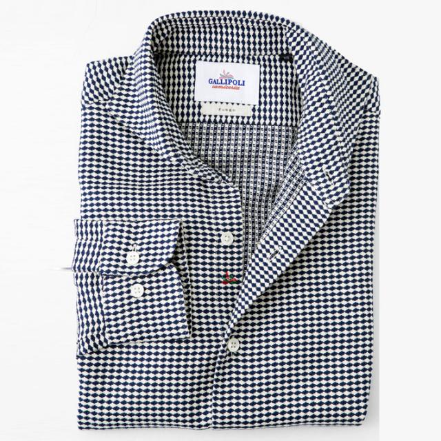 [ネット通販限定販売]日本製 エジプシャンコットンジャガード厚手カジュアルシャツ  セミワイドカラー  460663-009 GALLIPOLI camiceria(ガリポリカミチェリア)