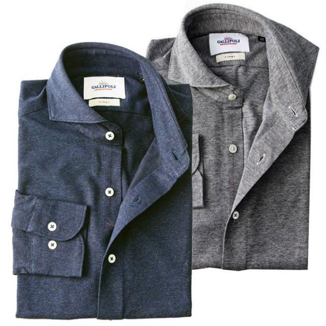 日本製 ジャージ素材のストレッチカットソーシャツ カジュアルシャツ ストレッチシャツ グレー ネイビー 460664 GALLIPOLI camiceria(ガリポリカミチェリア)