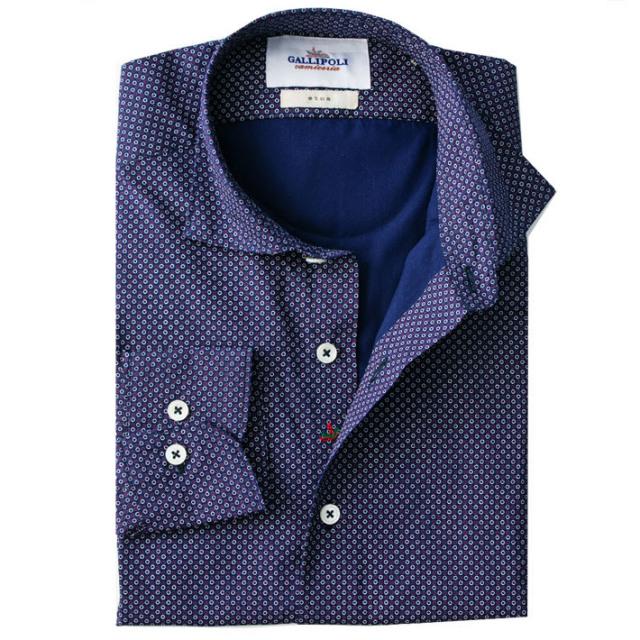 日本製 イタリアテイスト小紋柄デザインシャツ カジュアルシャツ  セミワイドカラー ネイビー 460669-004 GALLIPOLI camiceria(ガリポリカミチェリア)