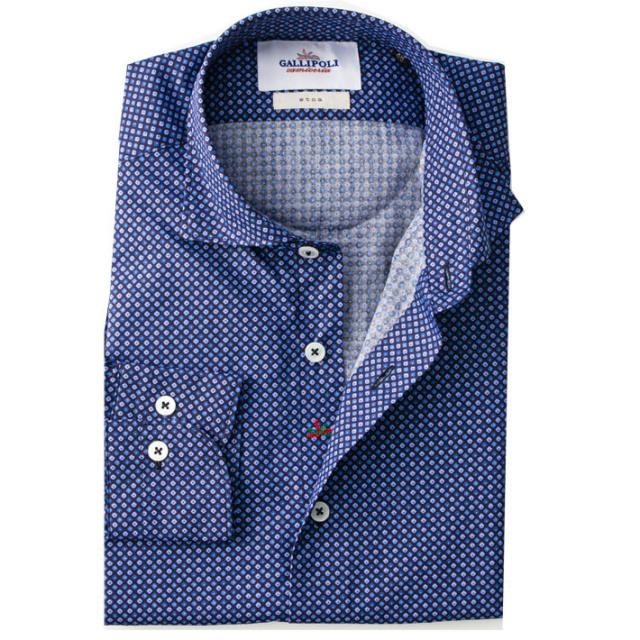日本製 イタリアテイスト小紋柄デザインシャツ カジュアルシャツ  セミワイドカラー ブルー系 460669-010 GALLIPOLI camiceria(ガリポリカミチェリア)