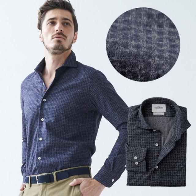 SALE 日本製 起毛コットンブロックチェックシャツ 長袖カジュアルシャツ セミワイド 460672 GALLIPOLI camiceria(ガリポリカミチェリア)