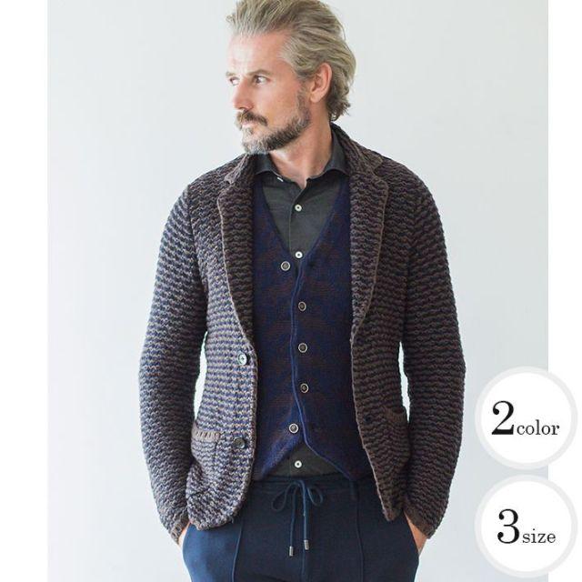 [WEB限定販売]ロゲージ2色使い鹿の子編みニットジャケット ウール ブラウン ネイビー ブラック 460751 G-stage(ジーステージ)