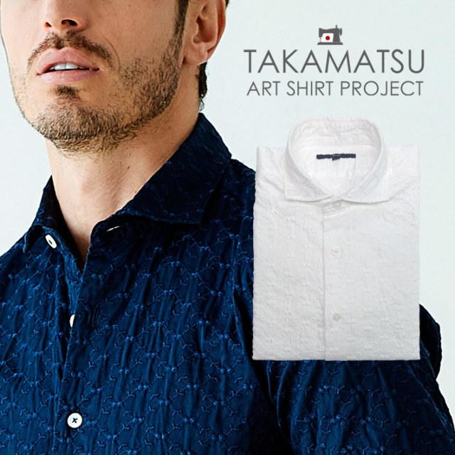 日本製 総柄刺繍カジュアルシャツ 長袖 メンズシャツ ネイビー ホワイト 490601 G-stage ジーステージ