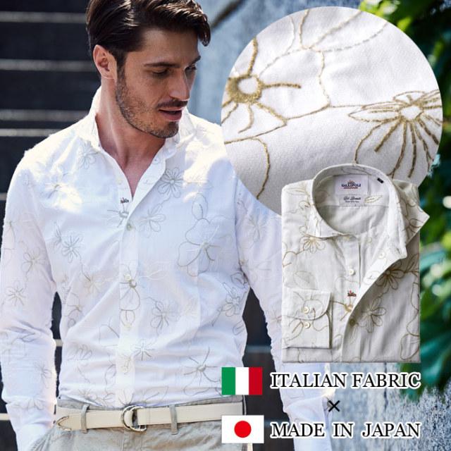 SALE 日本製 イタリア生地 フラワー刺繍シャツ ホワイト 490661-001 GALLIPOLI camiceria ガリポリカミチェリア