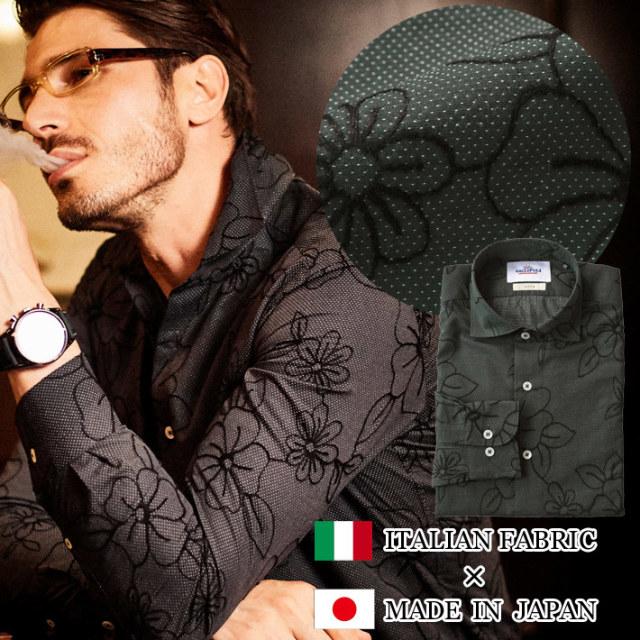 日本製 イタリア生地 フラワー刺繍シャツ ブラック 490661-011 GALLIPOLI camiceria ガリポリカミチェリア