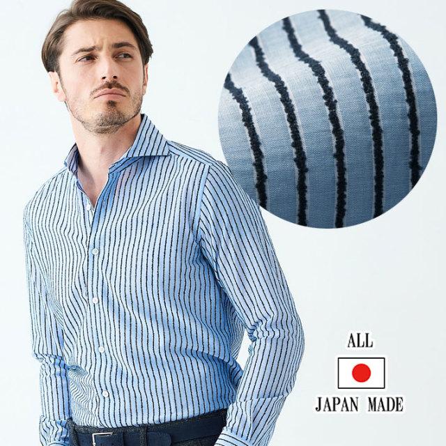 日本製 播州織モールストライプカジュアルシャツ 長袖 メンズシャツ ブルー 490665-009 GALLIPOLI camiceria ガリポリカミチェリア