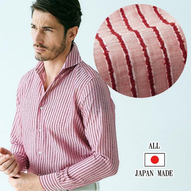 日本製 播州織モールストライプカジュアルシャツ 長袖 メンズシャツ レッド系 490665-018 GALLIPOLI camiceria ガリポリカミチェリア