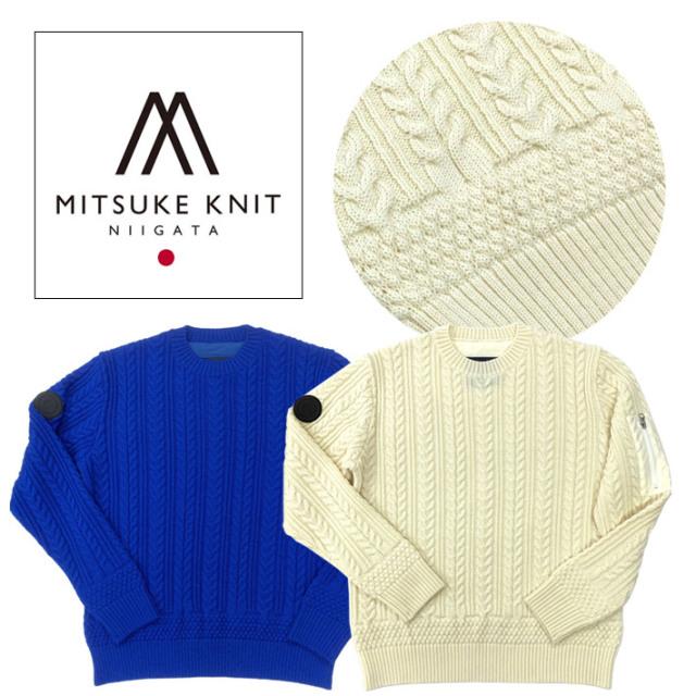 セーター メンズ ニット ウール100 クルーネック ケーブルデザイン 新潟MITUKIKNIT製 ホワイト ブルー 490704 G-stage ジーステージ