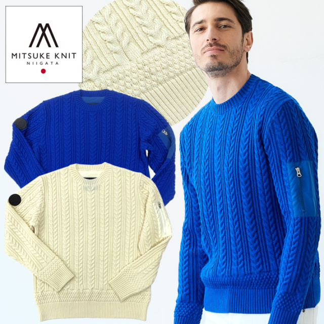 SALE セーター メンズ ニット ウール100 クルーネック ケーブルデザイン 新潟MITSUKEKNIT製 ホワイト ブルー 490704 G-stage ジーステージ