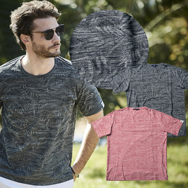 SALE Tシャツ 半袖 ジャガード クルーネック サイロスラブリーフ カットソー 日本製 速乾 ブルー オレンジ  511501 G-stage ジーステージ