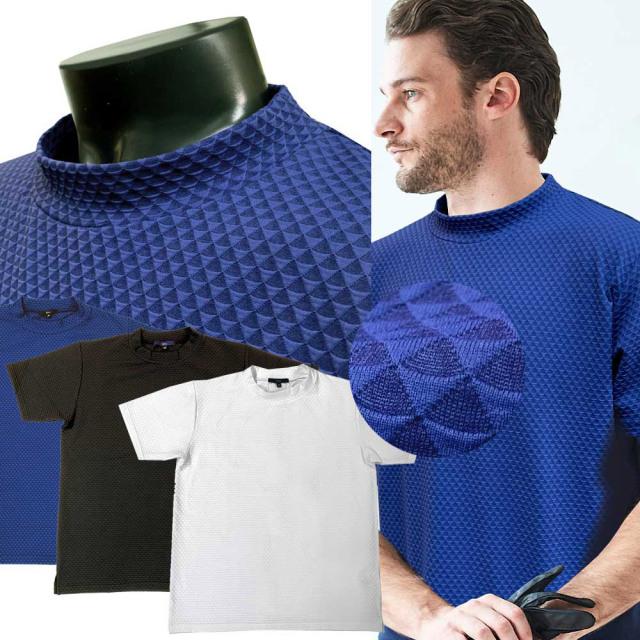 イタリア生地 Tシャツ ジャガードジャージ モックネック ゴルフスタイル ホワイト ブルー ブラック 511507 G-stage(ジーステージ)