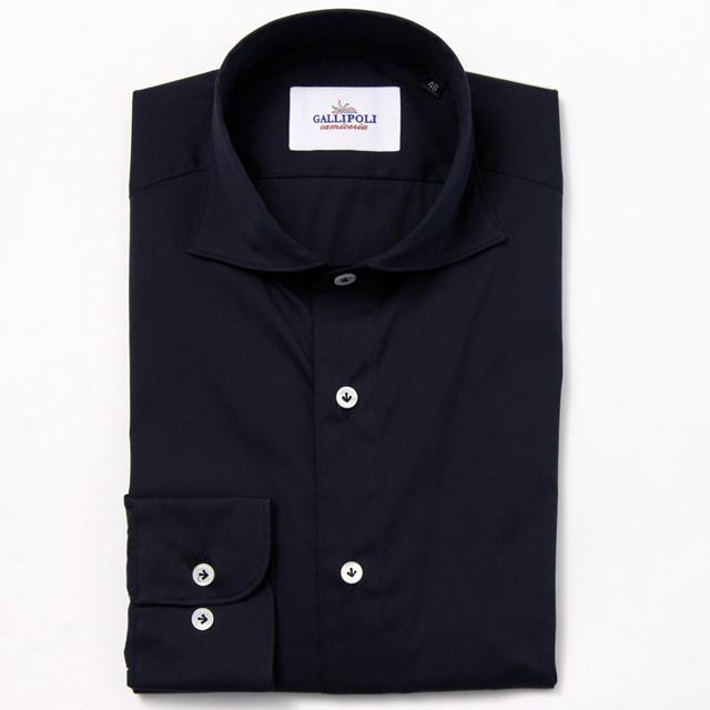 GALLIPOLIイタリア製無地ネイビー無地カッタウェイ長袖ストレッチカジュアルシャツ  550661-206