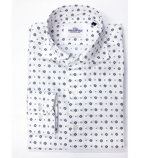 GALLIPOLIイタリア製フラワーモチーフコットンカッタウェイ長袖カジュアルシャツ  550662-001